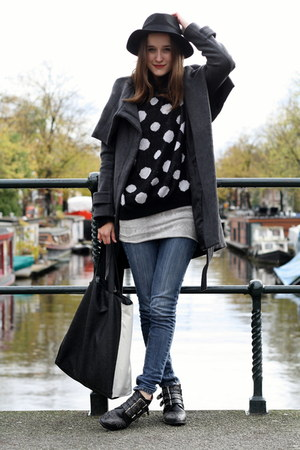 polka dots c&a jumper - studs Sacha boots - snake printed weekday dress