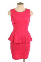 Solid Knit Peplum Dress