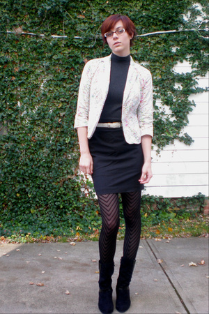 black Limited skirt - black Connie shoes - gray worn as a top NY and Co dress