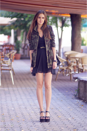 black Love dress - olive green Newlook jacket - black vjstyle bag