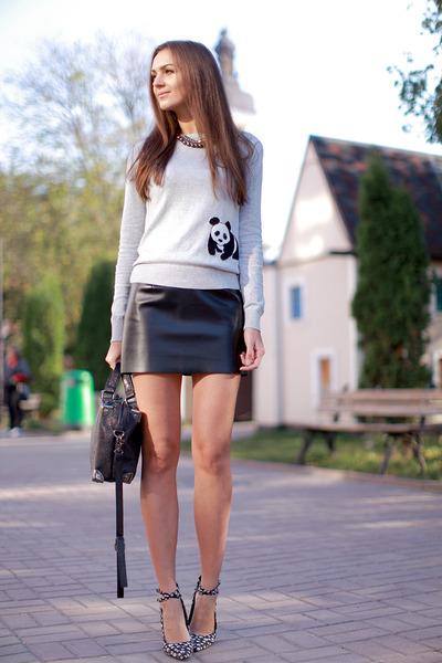 heather gray A wear sweater - black vjstyle bag - black DIY skirt