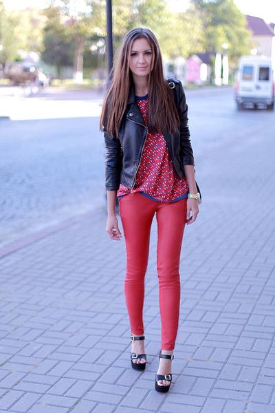 red New Yorker pants - black Sheinside jacket - black vjstyle bag