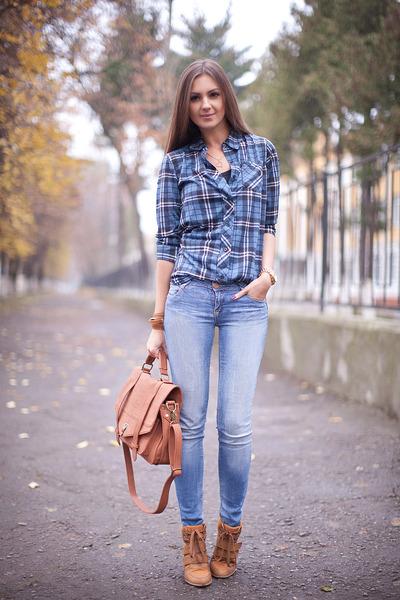 sky blue denim pull&bear jeans - blue plaid nowIStyle shirt