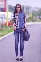 blue Sheinside shirt - black River Island shoes