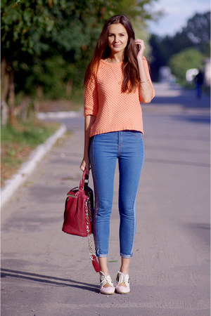 peach asos jumper - light pink OASAP shoes - blue romwe jeans