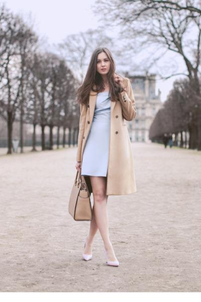 camel Zara coat - light blue inlovewithfashion dress - beige Michael Kors bag