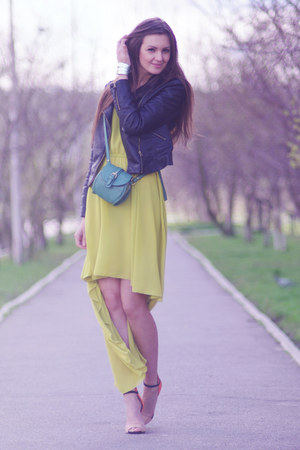 chartreuse chiffon AX Paris dress - black faux leather Sheinside jacket