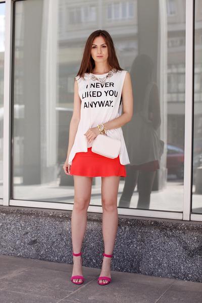 white H&M t-shirt - ivory H&M bag - bubble gum Nicholas heels