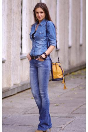 blue 7 for all mankind jeans - dark khaki asos boots - blue H&M shirt
