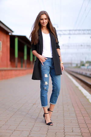 blue Chicova jeans - black H&amp;M jacket - white H&amp;M top - black Zara heels