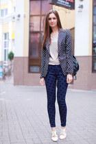 black Zara blazer - cream OASAP shoes - navy asos jeans - black vjstyle bag