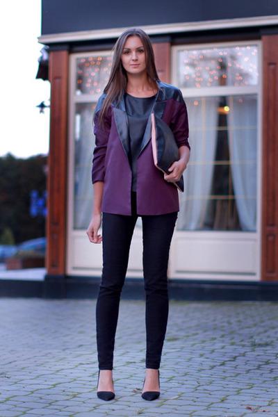 magenta romwe jacket - black asos jeans - black asos bag - black Zara heels