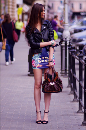 navy pull&amp;bear skirt - black Sheinside jacket