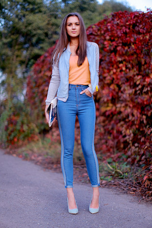 light blue pull&amp;bear jacket - sky blue romwe jeans - white Bershka bag