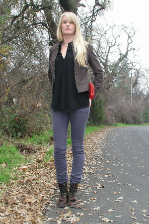 brown boots - purple jeans - black top - brown H&amp;M jacket - red purse - red acce