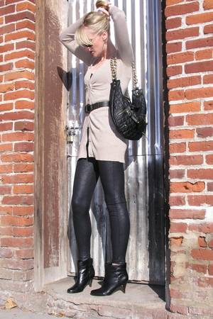 black Forever 21 leggings - black Aldo boots - beige Mossimo cardigan - black pu