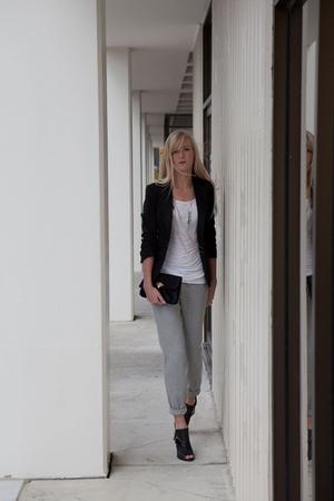 gray pants - black Express jacket - white Forever 21 top - black BCBG boots - si
