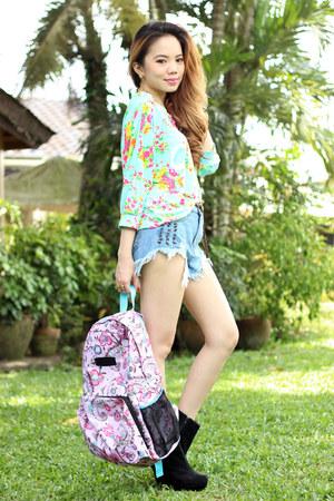 convertible bag Parachute Bags bag - denim OASAP shorts - pink romwe necklace