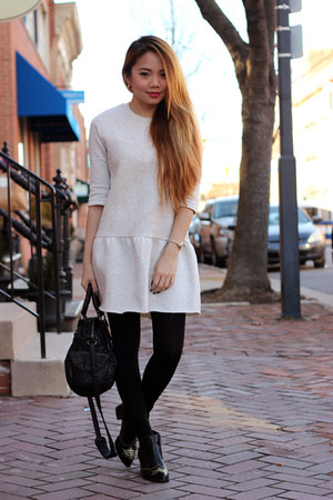 leather H&M boots - knit Zara dress