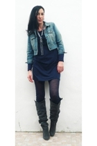 asos jacket - Manoush dress - Urban Outfitters necklace - Zara boots - Liverny C