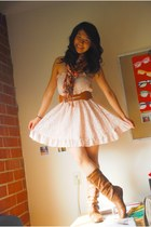 light pink Asoyacom dress - brown cutsygirlcom boots - brown Urban Outfitters be