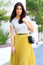asos skirt - Zara bag - Witchery t-shirt - Mango belt - strappy heels