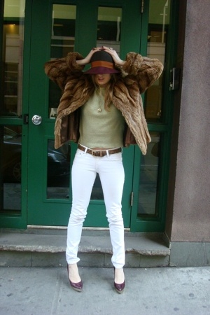 coat - H&M jeans - Lacoste top - danier belt - Urban Outfitters hat