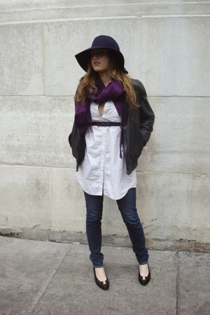 random hat - random scarf - gift from friend belt - H&amp;M blouse - Uniqlo jeans - 