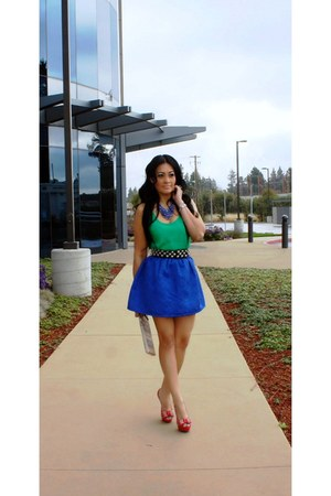 blue romwe skirt - green Forever 21 shirt - eggshell Forever 21 bag