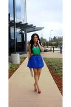 blue romwe skirt - green Forever 21 shirt - eggshell Forever 21 bag
