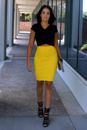 yellow knitted OASAP skirt - tan Forever 21 bag - black Shoedazzle heels