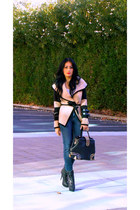 tan Sheinside jacket - black GoJane boots - navy 7 for all mankind jeans