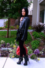 Black-gojane-boots-black-faux-leather-forever-21-jacket-coral-tj-maxx-bag