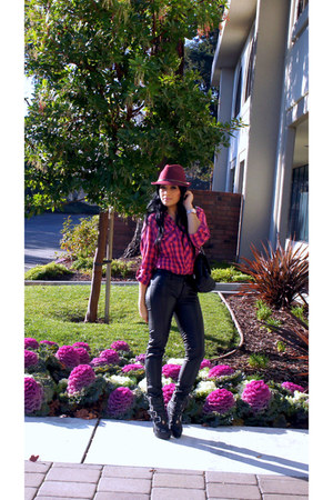 black GoJane boots - brick red Mossimo hat - maroon flannel Forever 21 shirt