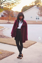 maroon wool cape thrifted cape - white Gap shirt