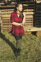 red plaid dress - black lace up boots Diba shoes