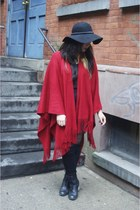 red thrifted cape - black Diba shoes - black floppy hat Forever 21 hat