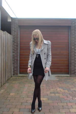 silver Zara coat - white H&M shirt - black DIY skirt - black unknown shoes - bla