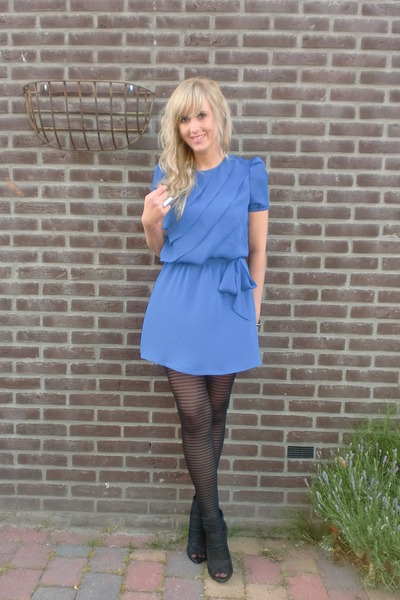 blue Billy jack for her dress - black H&amp;M tights - black Zara shoes