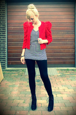black wedges Zara shoes - red red roses H&amp;M the garden collection jacket