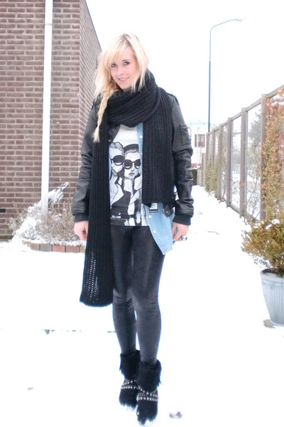 black Only jacket - blue H&M blouse - black lemon leggings - white Danny Roberts