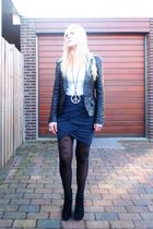 black Oasis blazer - white H&M shirt - blue Vero Moda skirt - black unknown tigh