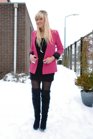 pink boyfriend Topshop blazer - black overknee Primark boots