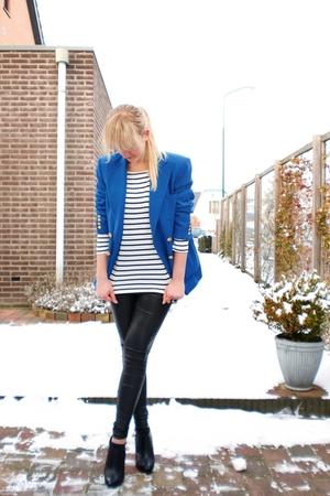 blue Ralph Lauren blazer - white H&M shirt - black Super Trash leggings - black