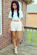 light pink shorts shorts - light blue stripes shirt - brown belt belt