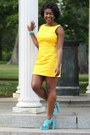 Yellow-calvin-klein-dress-aquamarine-suede-mossimo-heels