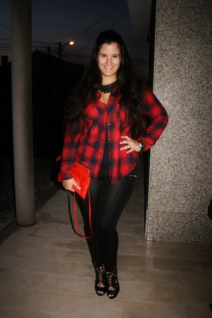 ruby red tartan Primark shirt - black Primark shoes - black Bershka leggings