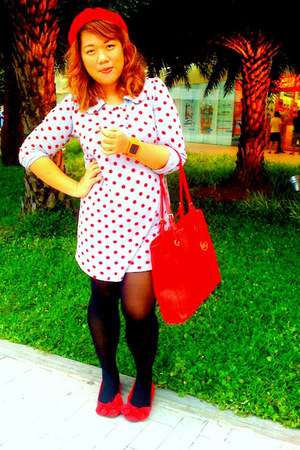 red ribbon Payless shoes - periwinkle polka dot Debenhams dress