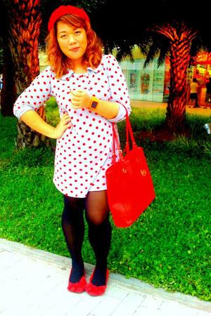 red ribbon Payless shoes - periwinkle polka dot Debenhams dress