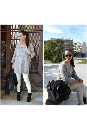 white H&M sweater - black custom made coat - white leather H&M leggings